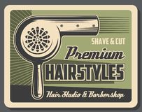 Barbershop service, hairstyles, shave and cut. Hairstyles at barbershop, hair dryer. Vector shave and cut services, men beard and mustaches styling. Retro stock illustration