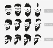 Hairstyles with a beard in the face, full face and Stock Photo