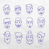 Hairstyles beard and hair face cut young man doodle cartoon collection. Vector male sketchy illustration. Modern stock illustration