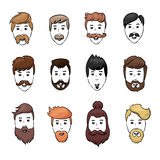 Hairstyles beard and hair face cut young man doodle cartoon collection. Vector male sketchy illustration. Modern Stock Image