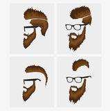 Hairstyles with a beard and mustache wearing royalty free illustration