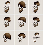 Hairstyles with a beard and mustache wearing Stock Photo