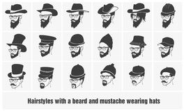 Hairstyles with a beard and mustache wearing Royalty Free Stock Photo