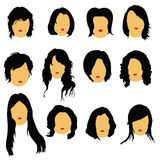Hairstyles beauty color vector illustration Stock Photos