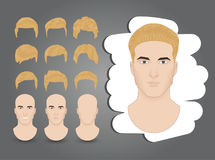 Hairstyles blond. A set of men`s hairstyles blond Royalty Free Stock Photos