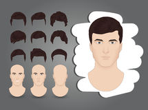 Hairstyles brown. A set of men`s hairstyles brown Royalty Free Stock Photo