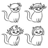Hairstyles cats. Vector illustration Royalty Free Stock Photo