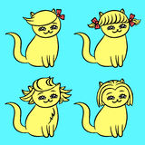 Hairstyles cats vector illustration Stock Images