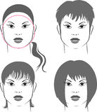 Hairstyles for round face Royalty Free Stock Photography
