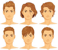Hairstyles Set. Male Hairstyles Set - Portrait close-up Royalty Free Stock Photos