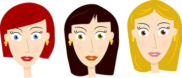 Hairstyles for women. One girl with three different hairstyles and eye colour in vector format Royalty Free Stock Image