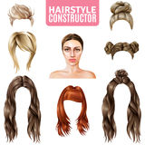 Hairstyles For Women Constructor. Including model, long and short hair, in bun, with fringe isolated vector illustration Stock Photos