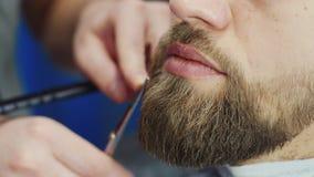 Hairstyling del ` s degli uomini e haircutting in un negozio di barbiere o in un salone di capelli Governare la barba barbershop  stock footage
