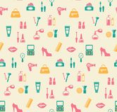 Hairstyling fashion and makeup seamless pattern Royalty Free Stock Photo