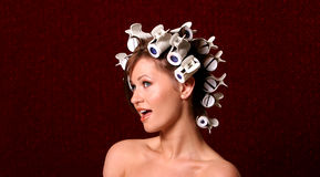 Hairstyling with hair rollers Royalty Free Stock Photo