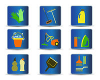 Cleaning tools icons  Stock Photography