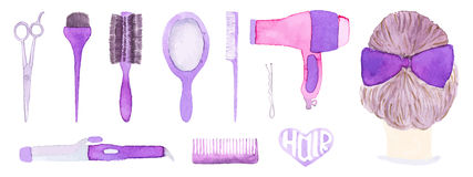 Hairstyling set. Hand-drawn tools. Real watercolor drawing. Vector illustration. Royalty Free Stock Photo