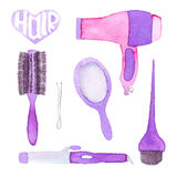 Hairstyling set. Hand-drawn tools. Real watercolor drawing. Vector illustration. Stock Photos
