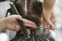 Hairstylist combing hair Royalty Free Stock Photos