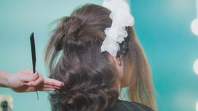 Hairstylist creating complicated evening hairstyle royalty free stock photo
