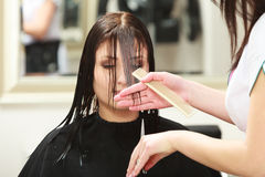 Hairstylist cutting hair woman client in hairdressing beauty salon Stock Photography