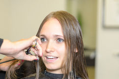 Hairstylist Cutting the Hair of a Young Woman Royalty Free Stock Photos