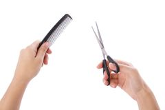 Hairstylist hands Stock Photo