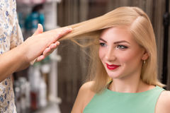 Hairstylist makes hairstyle for beautiful girl Royalty Free Stock Photo
