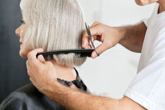 Hairstylist Measuring Hair Length Before Haircut Royalty Free Stock Images