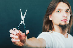 Hairstylist with scissors in hand Stock Photos