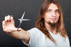 Hairstylist with scissors in hand Stock Photo