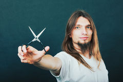 Hairstylist with scissors in hand Royalty Free Stock Photography