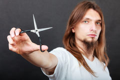 Hairstylist with scissors in hand Stock Image