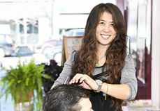 Hairstylist working Stock Photo