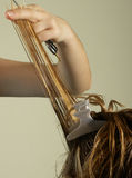 Hairstylist works Stock Images