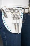 Hairstylists paska torba z nożycami zdjęcia stock