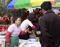 Hairtail di vendita del venditore ambulante Fotografia Stock