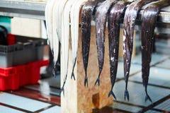 Hairtails atlantiques de largehead sur la poissonnerie traditionnelle à Funchal Photo stock