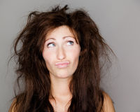 Hairy. Portrait of unhappy hairy female Royalty Free Stock Images