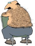 Hairy Back. This illustration depicts a chubby man with a hairy back sitting on a chair Royalty Free Stock Image