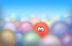 Hairy balls. Hairy and funny balls. Illustration for kids. Digital art Stock Photography