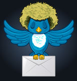 Hairy Bird with envelope mail. In darck background Royalty Free Stock Photo