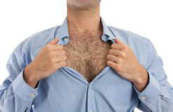 Hairy chest. Torso of a man undoing the upper part of his shirt to show his hairy chest Stock Photography