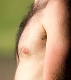 Hairy chest of a man in the open air Royalty Free Stock Images
