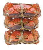 Hairy crabs on the Bamboo steamer Isolated in Stock Photo