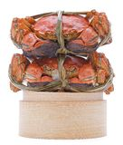 Hairy crabs on the Bamboo steamer Isolated in Royalty Free Stock Photo