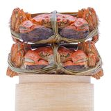 Hairy crabs on the Bamboo steamer Isolated in Royalty Free Stock Image