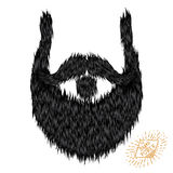 Hairy curly hipster strong beard drawing. With label Stock Images