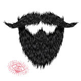 Hairy curly hipster strong beard drawing Royalty Free Stock Photos