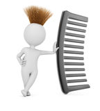 Hairy 3D man with comb Stock Image